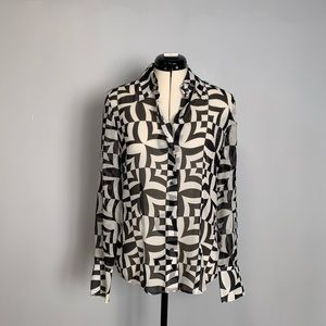 Kenneth Cole Black/White Sheer Geometric Blouse, 6